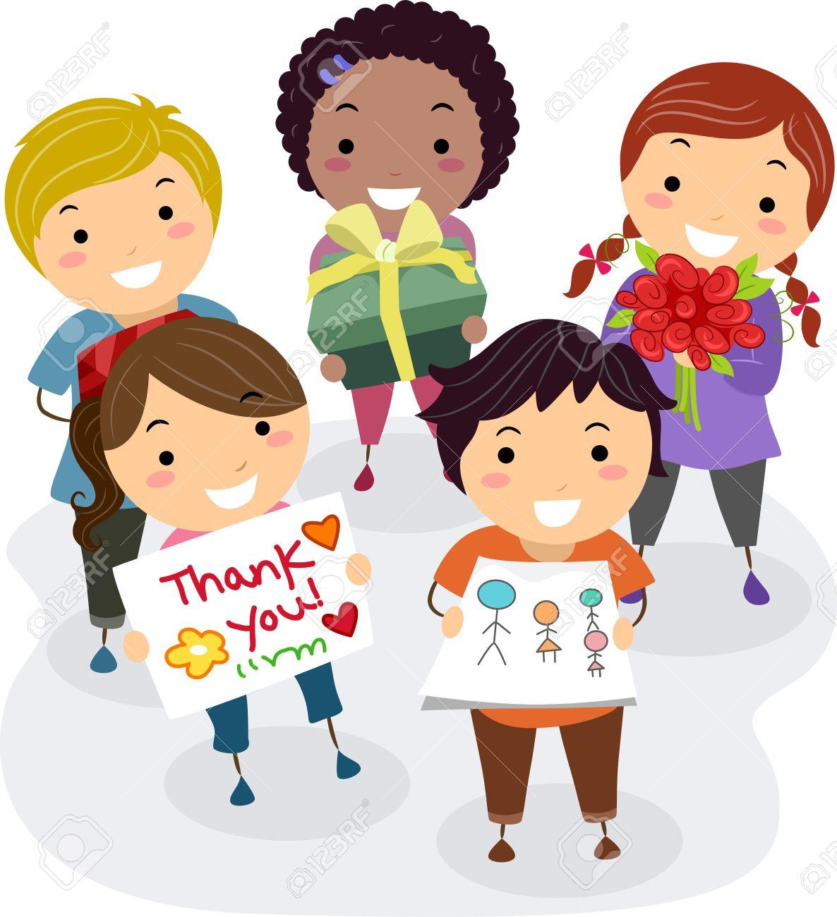 17430221-Ilustraci-n-de-los-ni-os-Presentaci-n-de-regalos-flores-y-tarjetas-de-Gracias-como-un-regalo-para-su-Foto-de-archivo